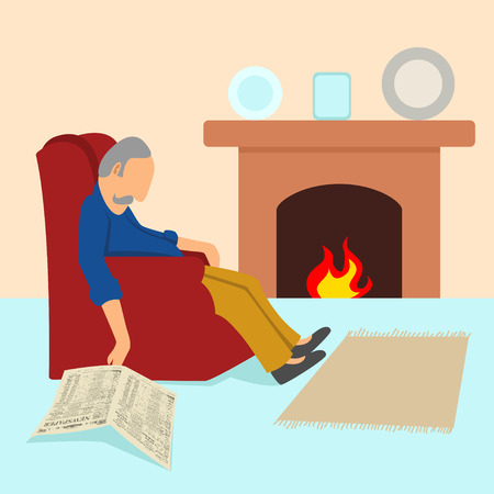 Simple cartoon of an old man taking a nap in the sofa
