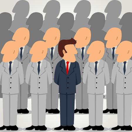 Outstanding businessman among ordinary businessman Illustration