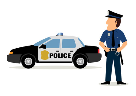 cartoon safety: Simple cartoon of a policeman and police car Illustration