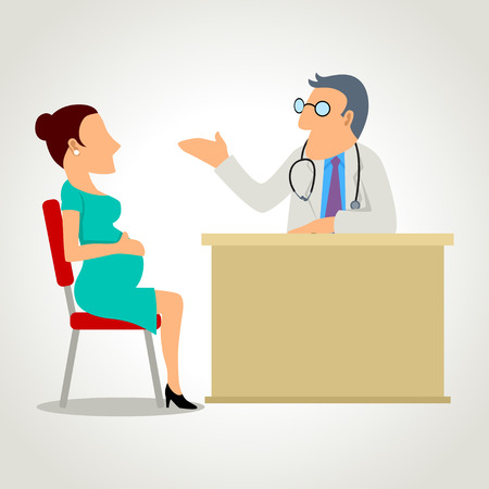 caricature woman: A pregnant woman consulting with the doctor