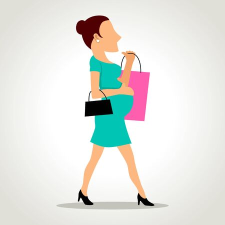 caricature woman: Simple cartoon of a pregnant woman with shopping bag