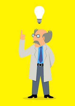 inventor: Cartoon illustration of a professor got an idea Illustration