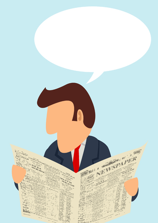 news paper: A man reading newspaper with blank bubble text Illustration