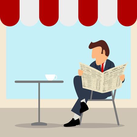 Un homme d'affaires lisant le journal au café de la rue