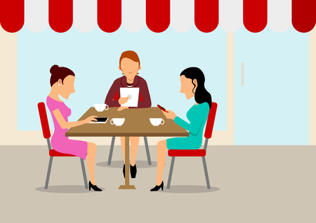 Women were gathered but busy with each other smart phone Vector