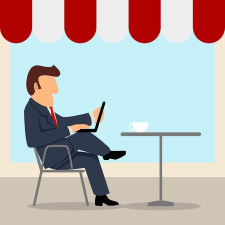 A businessman working on laptop at street cafe Illustration