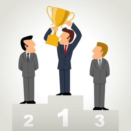 Einfache Karikatur von einem Geschäftsmann hält eine Trophäe