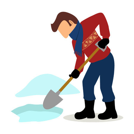 snowbank: Simple cartoon of a man cleaning the snow