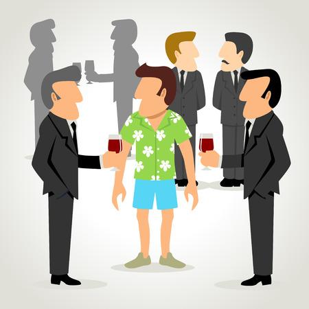 hawaiian: A man wearing hawaiian shirt among people wearing formal suit