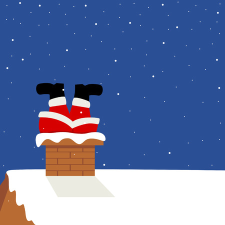 stuck: Funny cartoon of Santa Claus got stuck in chimney