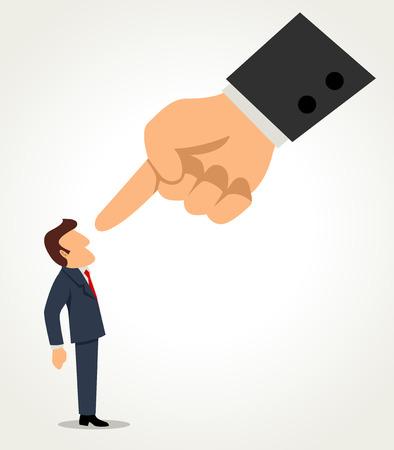 巨大な指で指している実業家の単純な漫画