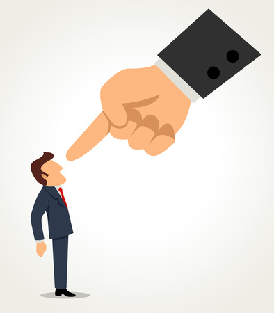 dedo: desenhos animados simples de um homem de negócios que está sendo apontado pelo dedo gigante Ilustração