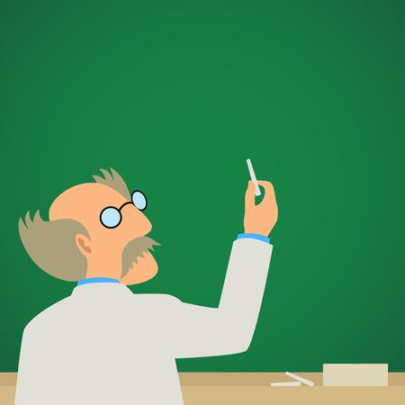 green chalkboard: Simple cartoon of a professor on a blank green chalkboard