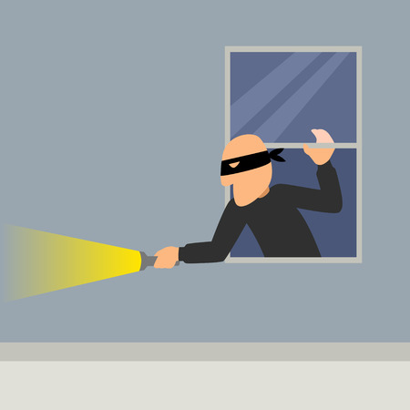 cartoon window: Simple cartoon of a burglar break into a house