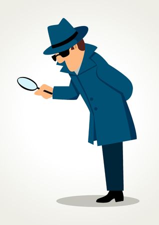 police cartoon: Simple cartoon of a detective holding a magnifying glass