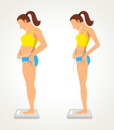 menina: desenhos animados simples de uma figura gorda e magra, antes e depois do conceito da dieta