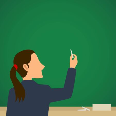 back view student: Simple cartoon of a teacher on a blank green chalkboard Illustration