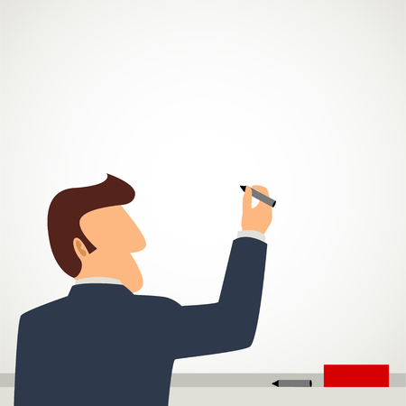 rear view: Simple cartoon of a businessman on a blank whiteboard Illustration
