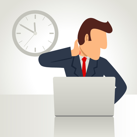 Simple cartoon of a businessman working on laptop with pain in his neck