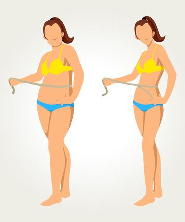 Donna misurare la sua vita, prima e dopo il concetto per i programmi di dieta Vettoriali