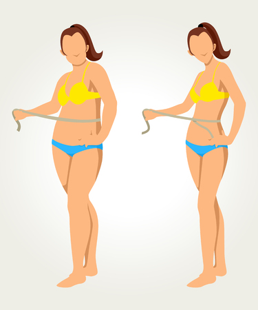 Woman measuring her waist, before and after concept for diet programs