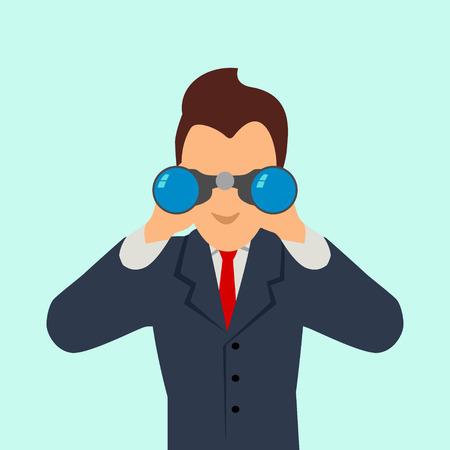 双眼鏡を使うビジネスマンの単純な漫画