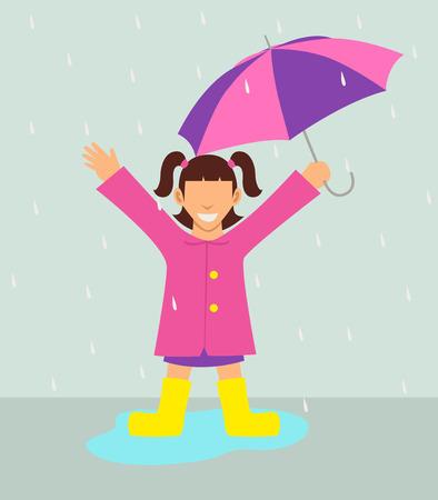 girl in rain: Simple cartoon of a girl with umbrella standing in the rain