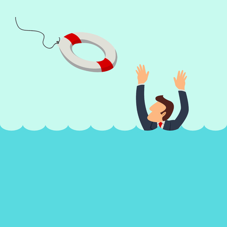 drown: Simple cartoon of a businessman cried for help in the flood