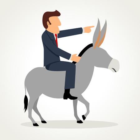 Simple cartoon of a businessman riding a donkey