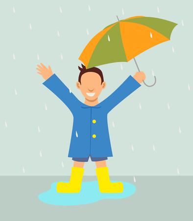 rain coat: Simple cartoon of a boy with umbrella standing in the rain Illustration