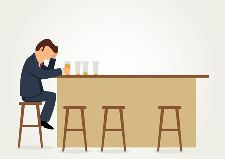 sad cartoon: Simple cartoon of a businessman drunk at the bar