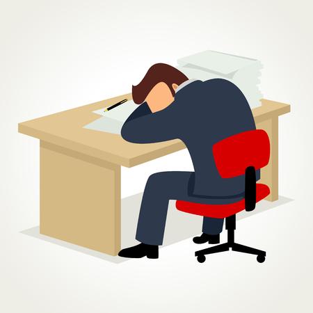 Eenvoudige cartoon van een zakenman te veel werk moe slaperig zit aan zijn bureau met documenten