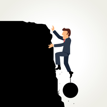 monta�as caricatura: Simple cartoon of a businessman climbing the cliff with iron ball on his leg Vectores