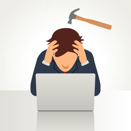 Simple caricatura de un hombre de negocios que tiene un dolor de cabeza simbolizado por un martillo en la cabeza Ilustración de vector