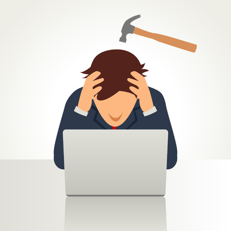 Simple cartoon of a businessman having a headache symbolize by a hammer on his head