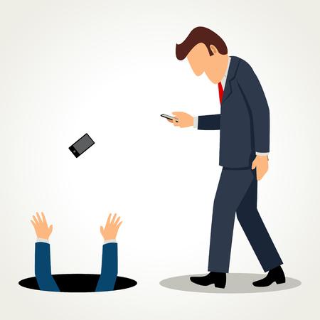 telefono caricatura: simple caricatura de un hombre de negocios caminar y ocupado con su dispositivo Vectores