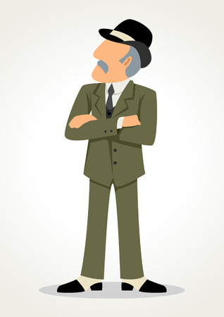 conglomerate: Simple cartoon of senior businessman in formal suit, success, rich man, entrepreneur symbol