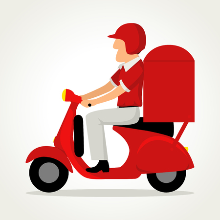 Simple cartoon of delivery man riding red motor bike or scooter isolated on white background