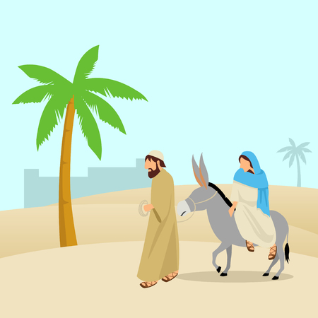 palm trees: Simple cartoon of Mary and Joseph, journey to Bethlehem, for Christmas theme