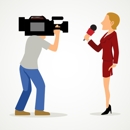Simple cartoon of a reporter and a cameraman. Journalism, news, press theme