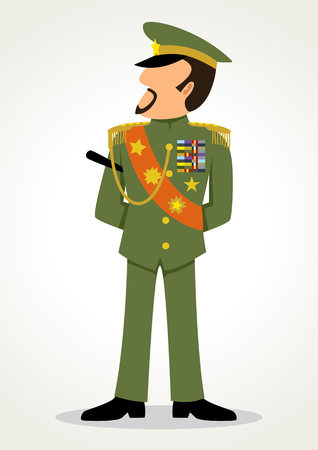 Simple cartoon of a general. Military, leadership, dictator theme