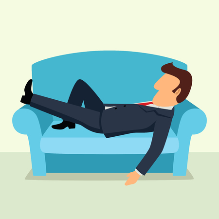 recharge: Simple cartoon of a businessman taking a nap on sofa. Laying, relaxing, recharge, resting theme