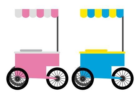 ice cream stand: Simple cartoon of a street food cart
