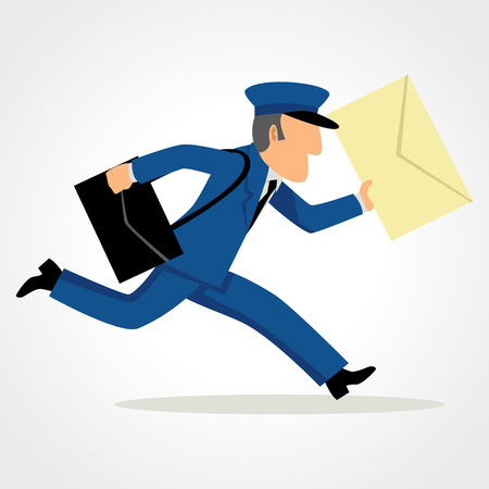 Simple cartoon of a postman running delivering mail. Speed, express, service concept and theme