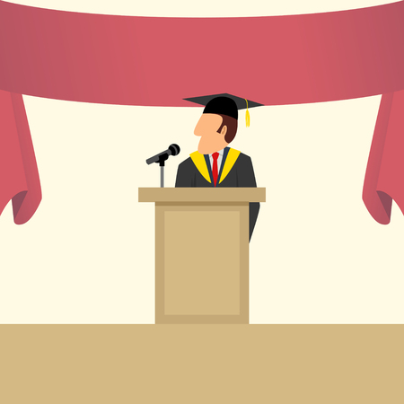 graduation gown: Simple cartoon of a man in graduation gown giving a speech on podium.