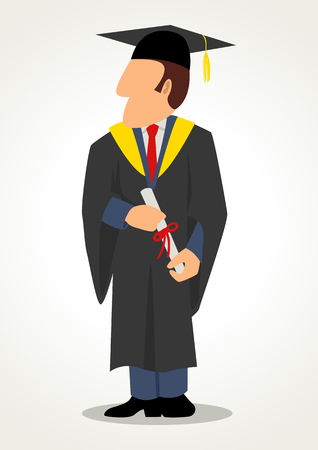 toga: Simple cartoon of a male in graduation gown. Toga, graduate, education, academic, academy theme Illustration