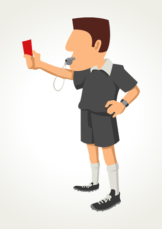 trespass: Simple cartoon of a soccer referee showing red card Illustration