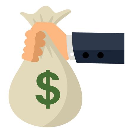 cash money: simple caricatura de un hombre de mano que sostiene una bolsa de dinero. El pago, recompensas, el concepto y las ideas de ganancias