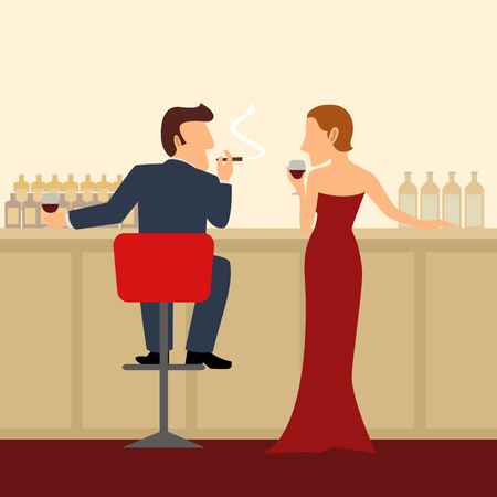 blind woman: Simple cartoon of a man and woman at the bar Illustration