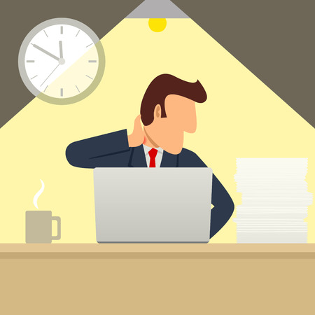 hardworker: Simple cartoon of a businessman working overtime with a lap top and got a stiff neck